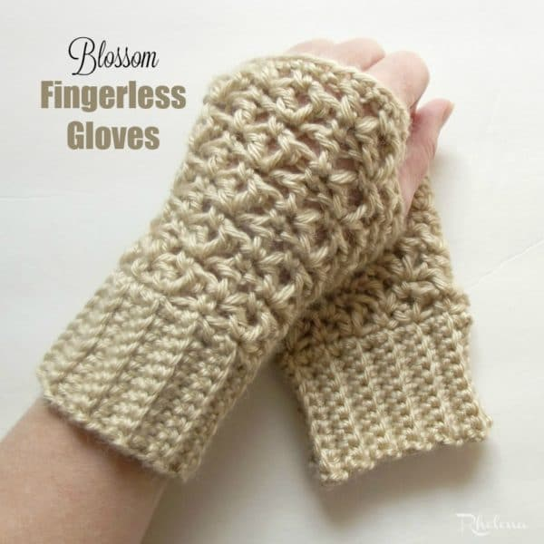 Free Crochet Pattern Childrens Fingerless Gloves : Blossom Fingerless Gloves - CrochetNCrafts