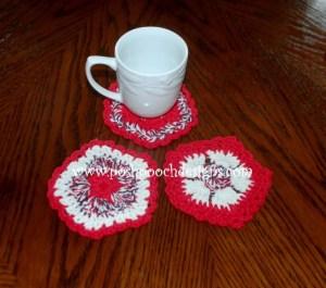 Patriotic Flower Coaster ~ Sara Sach - Posh Pooch Designs