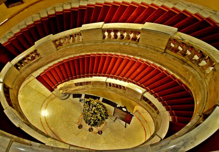 The Grand staircase at the Royal Horseguards Hotel in London - photo by Eileen Cotter Wright
