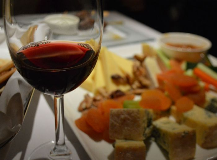 Wine and cheese at the Royal Horseguards Hotel in London - photo by Eileen Cotter Wright