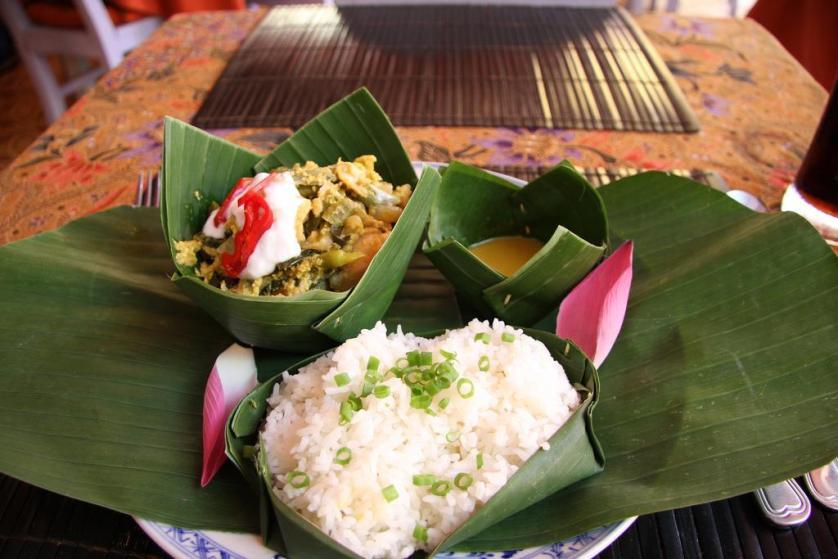 rice food asia banana leaves