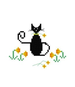 Easter Cat Cross Stitch Pattern Lynn B
