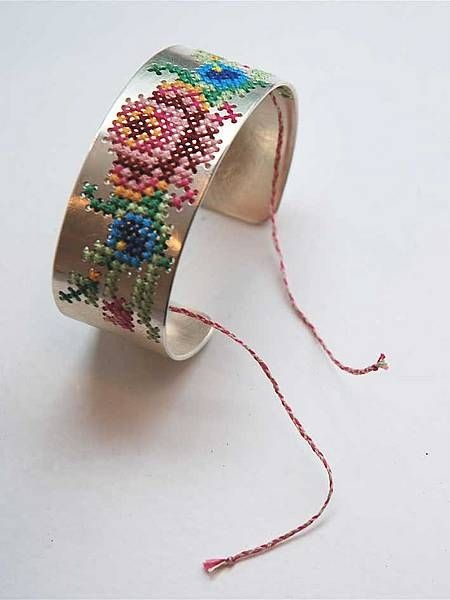 cross stitched cuff