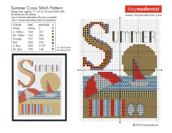 Check out this free summer themed cross-stitch chart