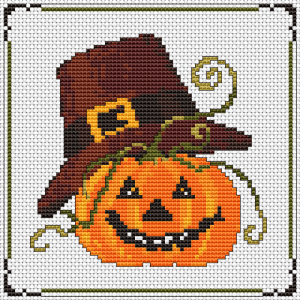 Halloween pumpkin in a pilgrim hat cross stitch pattern.