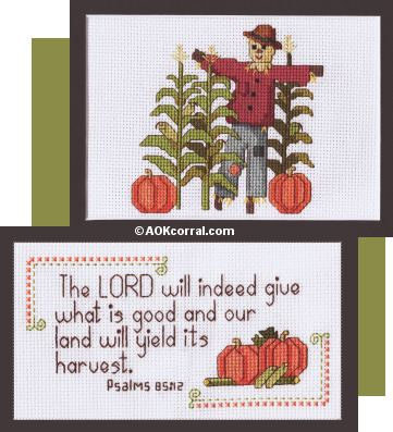 scarecrow and scripture cross stitch