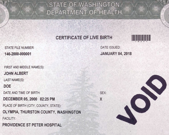 Why \u0027X\u0027 is now an option for gender on birth certificates Crosscut - birth certificate