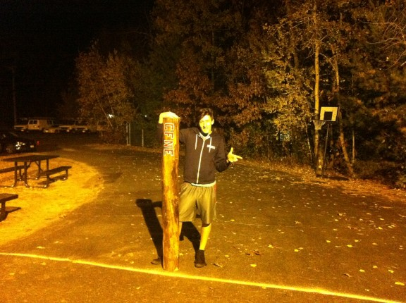 Dylan warms up with new CFNE log! Get it Dylan!