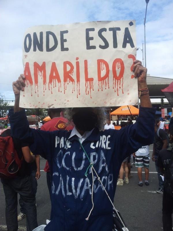 """Vereinzelte Protestierende: """"Wo ist Amarildo?"""""""