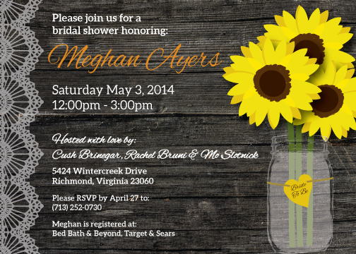 Rustic Chic, Sunflower Bridal Shower Invitation - Crowning Details