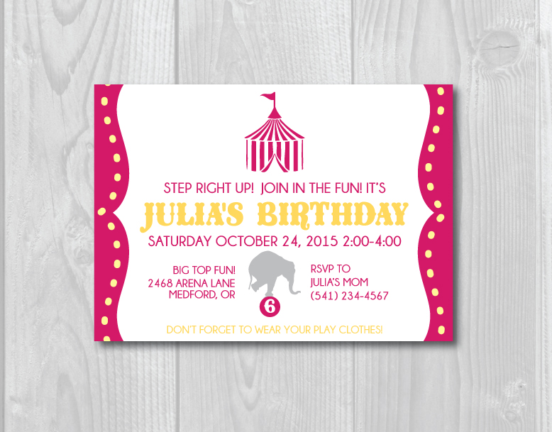 Circus Birthday Party Invitation - Crowning Details - Circus Party Invitation