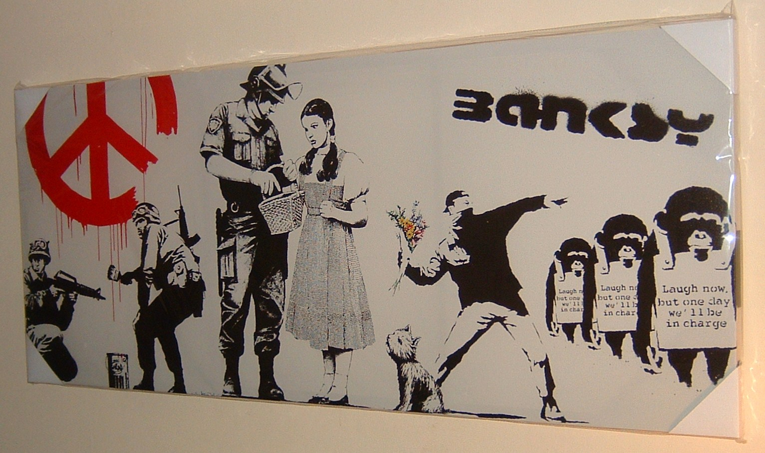 Best Modern Uk Crime Writers Large Stunning Banksy Collage Cnd Soldiers Graffiti Canvas