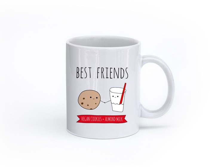 Best Friends: Vegan Cookies + Almond Milk Mug Cute Cartoon
