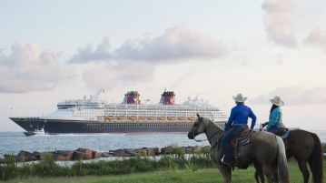 Disney Magic in Galveston: In fall 2016, Disney Cruise Line will return to Galveston with a line-up of seven-night Bahamian and Caribbean sailings. In this photo taken in 2012, the Disney Magic sailed into Galveston for the first time as part of its inaugural season. (Matt Stroshane, photographer) (PRNewsFoto/Disney Cruise Line)