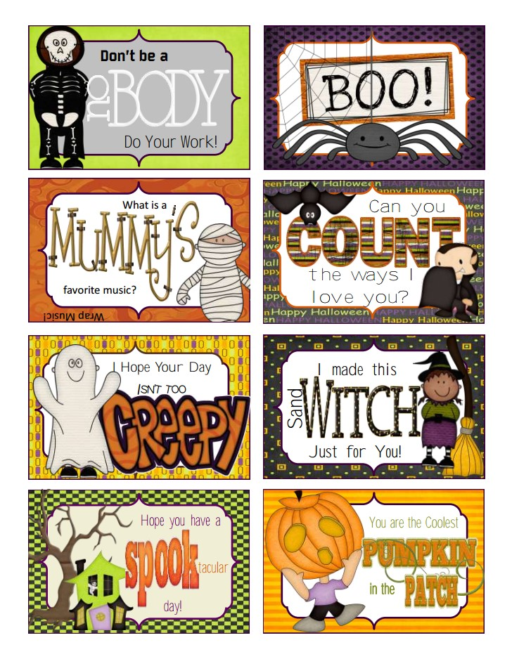 Printable Halloween Lunchbox Notes (SUPER CUTE) CrystalandComp