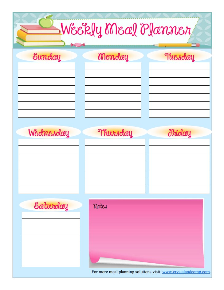 Free Printable Meal Planner (August)