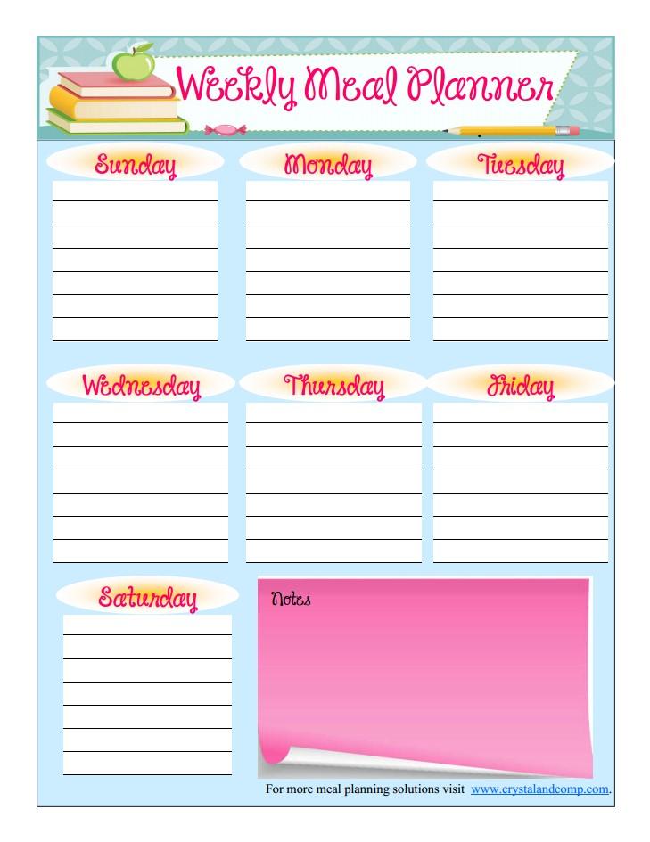 Free Printable Meal Planner (August) - printable meal planner