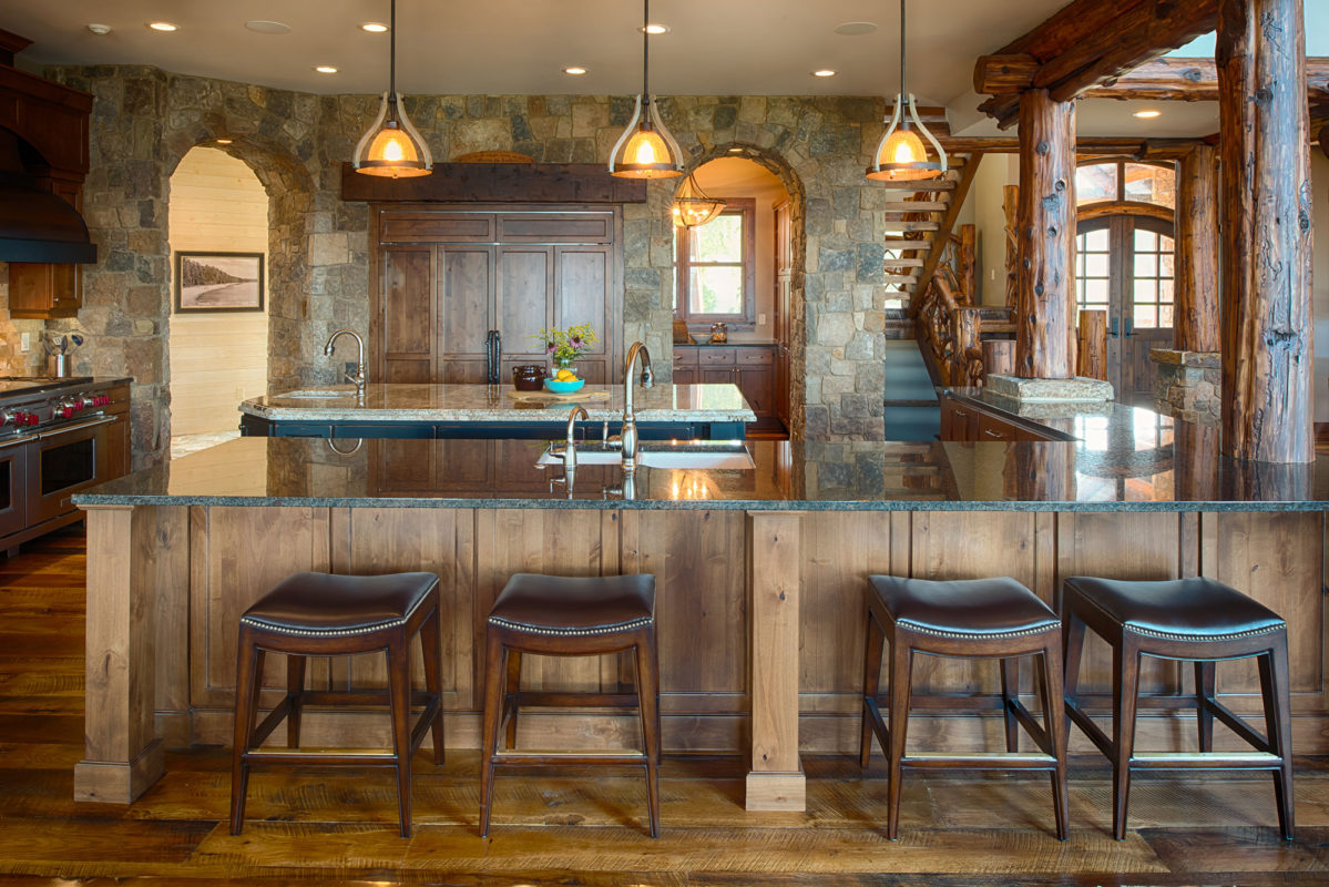 Black Island Kitchen Rustic Kitchen With Painted Black Island Crystal Cabinets
