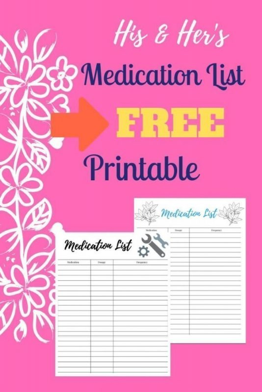 His and Her\u0027s Medication List for Caregivers, Free Printable