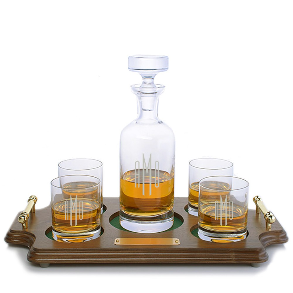 Whiskey Set Personalized Wellington Whiskey Decanter Rocks Wood Tray Set By Ravenscroft