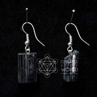 Black Tourmaline Earrings - Crystals of the World