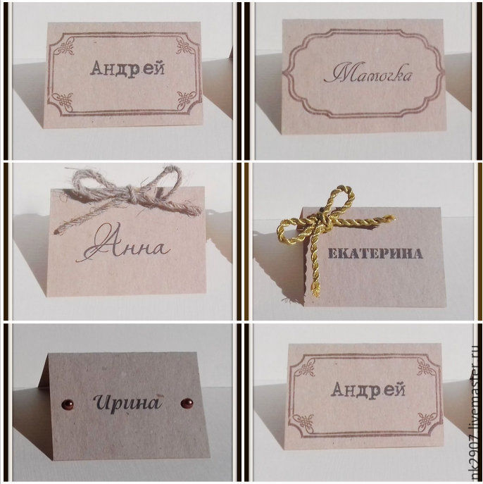 place cards from kraft paper \u2013 shop online on Livemaster with - buy place cards