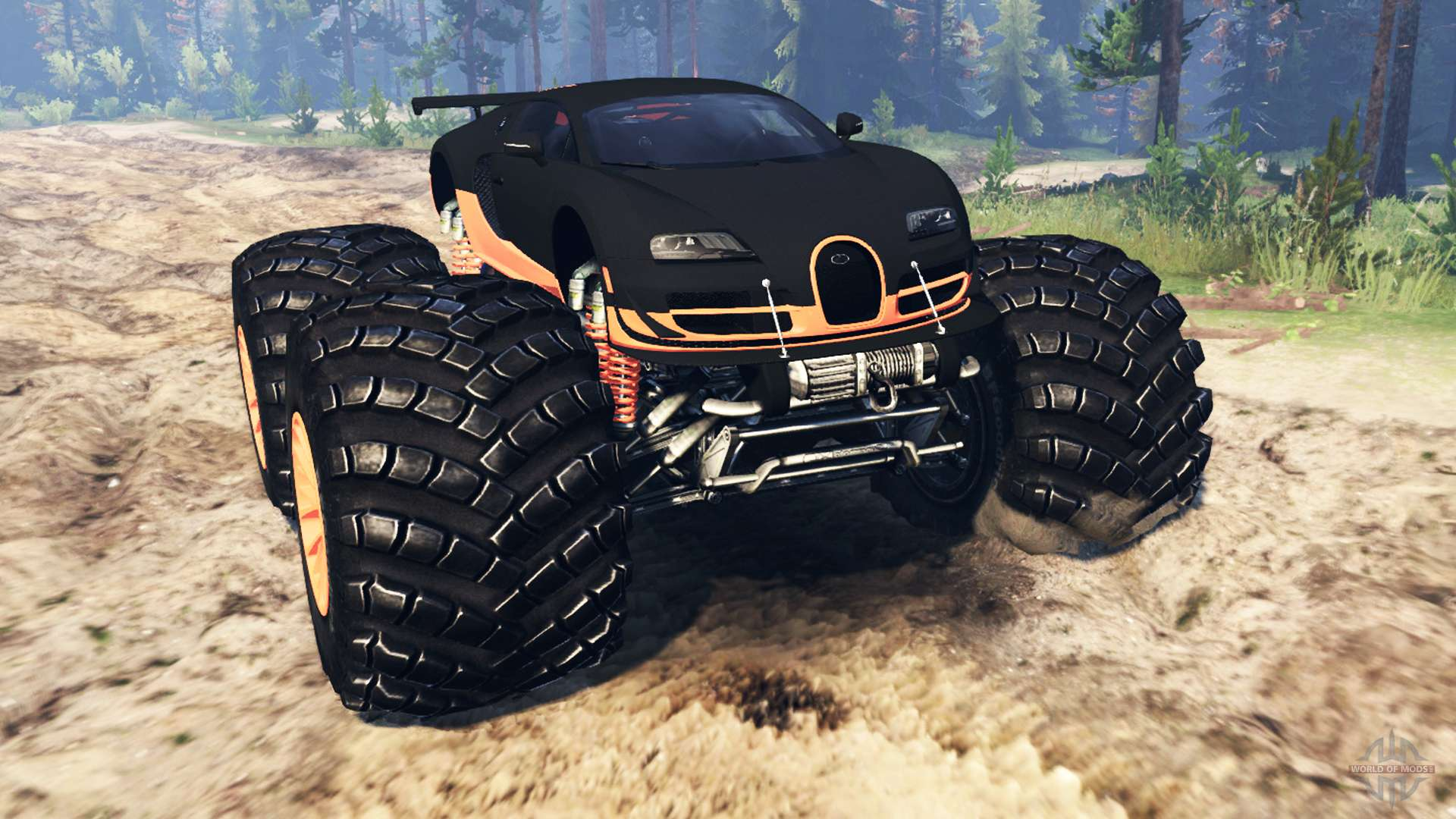 3d Bugatti Car Wallpaper Bugatti Veyron Ss Monster Truck For Spin Tires