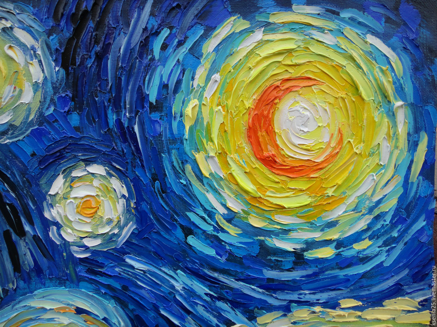 Oil Painting With Motives Of Vincent Van Gogh Starry Night