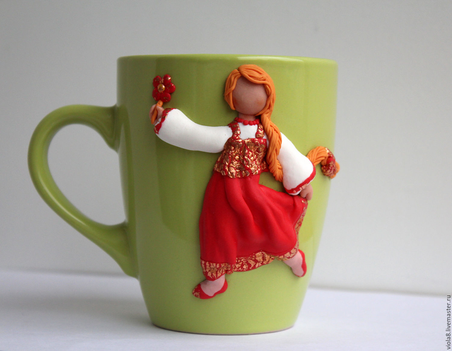 Deco Mug Mug With Decor Decor Mugs Girl In Red Polymer Clay