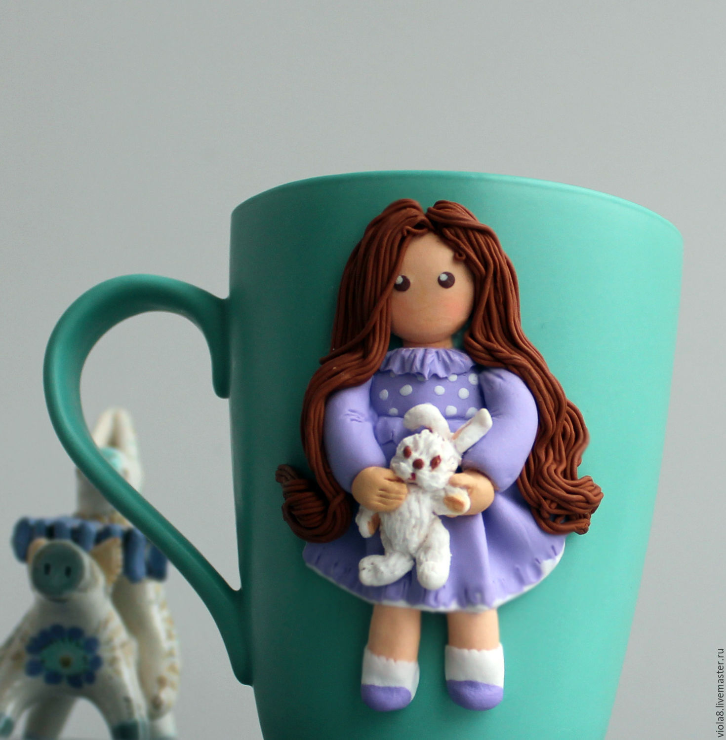 Deco Mug Mug With Decor Decor Mug Girl Bunny Mug With Polymer Clay