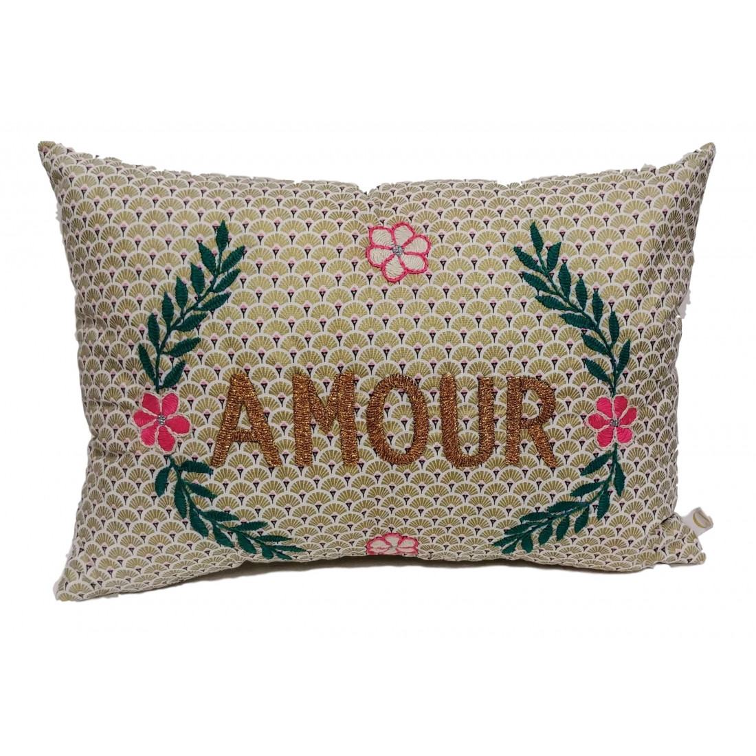 Brodé Embroidered Vintage Cushion Love