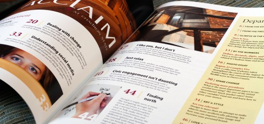 ACCLAIM's table of contents illustrates the magazine's diverse and varied content. — Photo illustration by T.J. Thomson