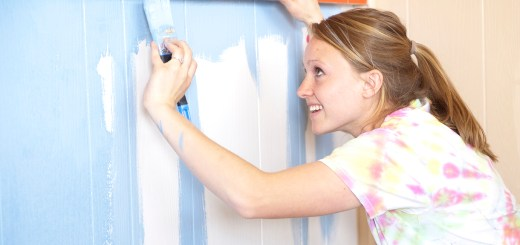 Tess Clemetson, senior of Riverton, Wyo., paints a wall at Birthright of Chadron's office Saturday. Clemetson was one of more than 400 CSC students who volunteered during Saturday's The Big Event. — Photo by Kinley Q. Nichols
