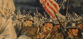A selected detail from a WWI era propaganda poster. — Illustration by Howard Chandler Christy / wikimedia commons