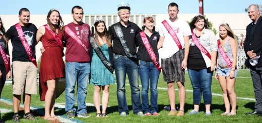 The CSC Homecoming Royalty Court is honored Saturday with CSC President Randy Rhine, far right, at halftime of the Homecoming football game at Elliott Field. —Photo by Jordyn Hulinsky