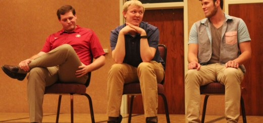 Jake Rissler of Gillette, Wyoming, Lane Sedberg of Hershey, and Zach Banzhaf of Chadron doing their best impersonationsn during CSC's Whose Line Nov. 30 in the Student Center Ballroom. ---Photo by Shontell Roseberry