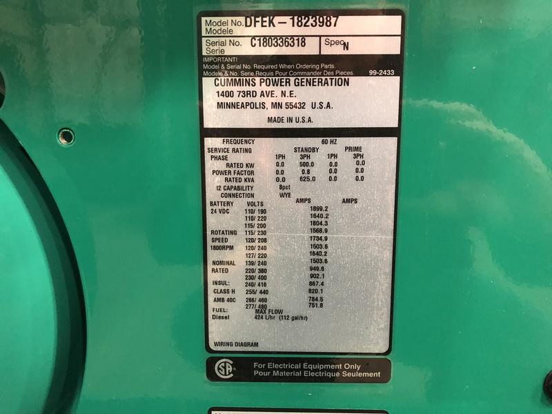 New Cummins DFEK QSX15-G9 NR2 Diesel Generator EPA Tier 2 500 KW