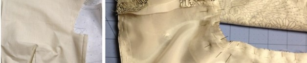Clockwise from top left: muslin of bodice, pining the neckline