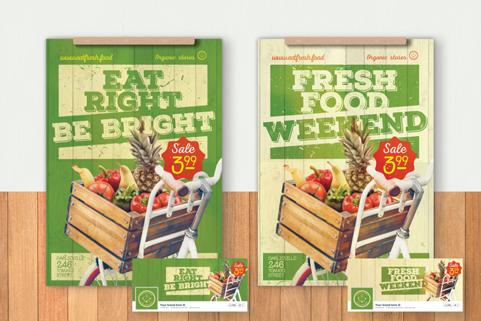 Organic Food Poster/Flyer Template \u2013 Bicycle with vegetables \u2013 CSForm
