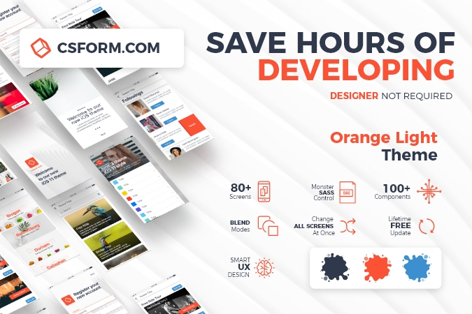 Ionic 3 UI Theme/Template App \u2013 Material Design \u2013 Yellow Dark \u2013 CSForm