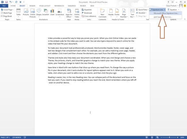 Add Signature Line in Word 2013 Document