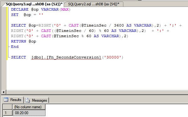 Function To Convert Seconds to Hour Minute Seconds Format in Sql - sql convert