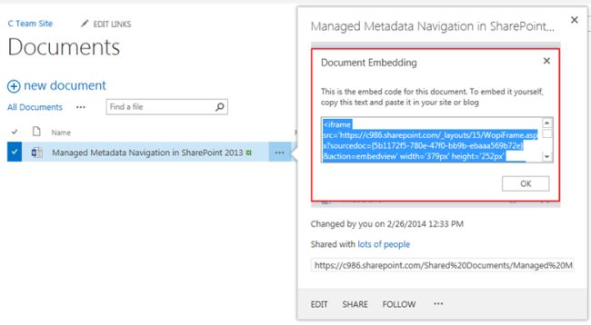 How to Embed a Word Document in SharePoint 2013 Page