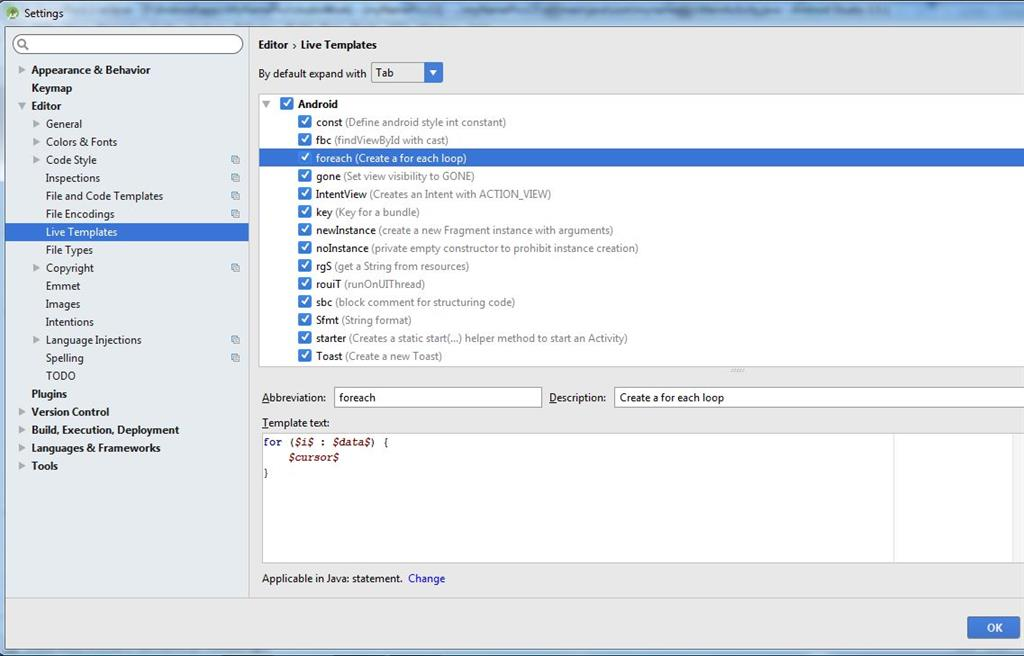 Live Template In Android Studio - android template