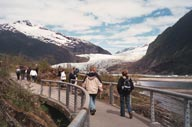 Visitors tour Mendenhall Glacier, which is just 12 miles from downtown Juneau, Alaska. Photo courtesy of Sharon Whitley Larsen.