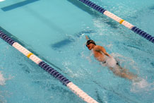 Photo by Andrea Sutherland.  Gavin Sibayan competes in the 100-meter freestyle at the 2011 Warrior Games. Sibayan placed fifth in the event and took seventh in the 50-meter freestyle and third in the 50-meter backstroke.