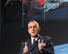 U.S. Air Force photo by Duncan Wood Gen. John E. Hyten, commander of Air Force Space Command, recently identified several key actions to be taken to ensure U.S. strength in space for the future. On April 14, 2015, at the 2015 Space Symposium in Colorado Springs, Colo., he discussed his command priorities, changes in store for space crews and new initiatives to assure access to space.