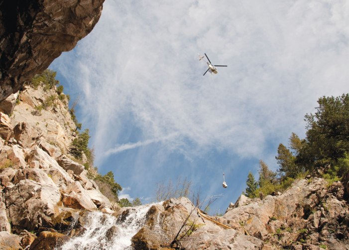 Cheyenne Mountain air lifts equipment for landslide mitigation