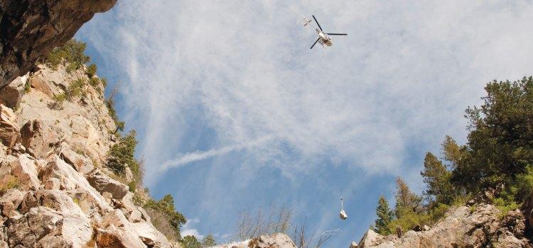 Cheyenne Mountain air lifts equipment for landslide mitigation