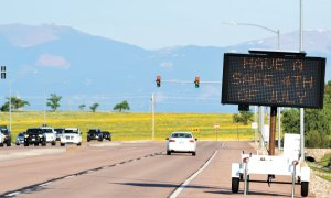 U.S. Air Force photo/Brian Hagberg This road sign on Falcon Parkway reminds drivers at Schriever Air Force Base, Colorado, to be safe during the 4th of July holiday. The holiday weekend annually ranks as one of the most dangerous in the country as the highest numbers of DUI-related fatal crashes, deaths and injuries from fireworks, heat exposure and water activities occur during this period.